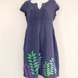 Boden Dress with Embroidered Leaves